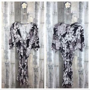 Soma Lavender Floral Kimono Wrap Dress Sz XL NWOT